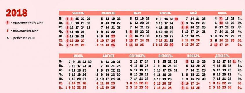 Праздники и выходные дни в 2018