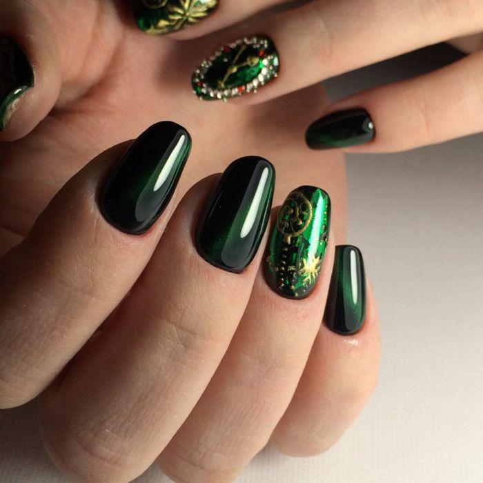 Маникюр черно зеленый осенью