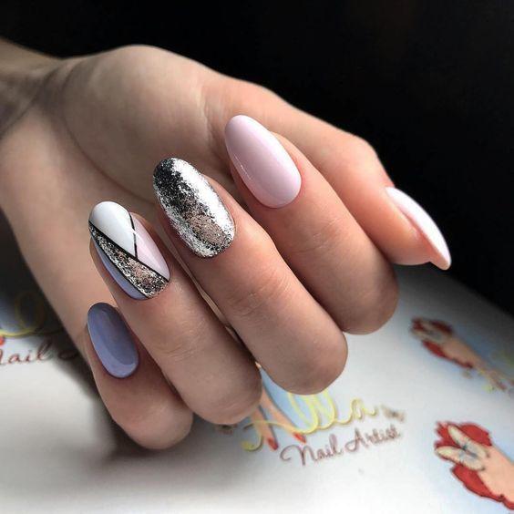 Красивый маникюр на миндалевидные ногти 2018 новинки 66 фото 19