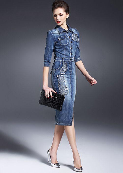 919fdf21963 Модное джинсовое платье  100+ тенденций