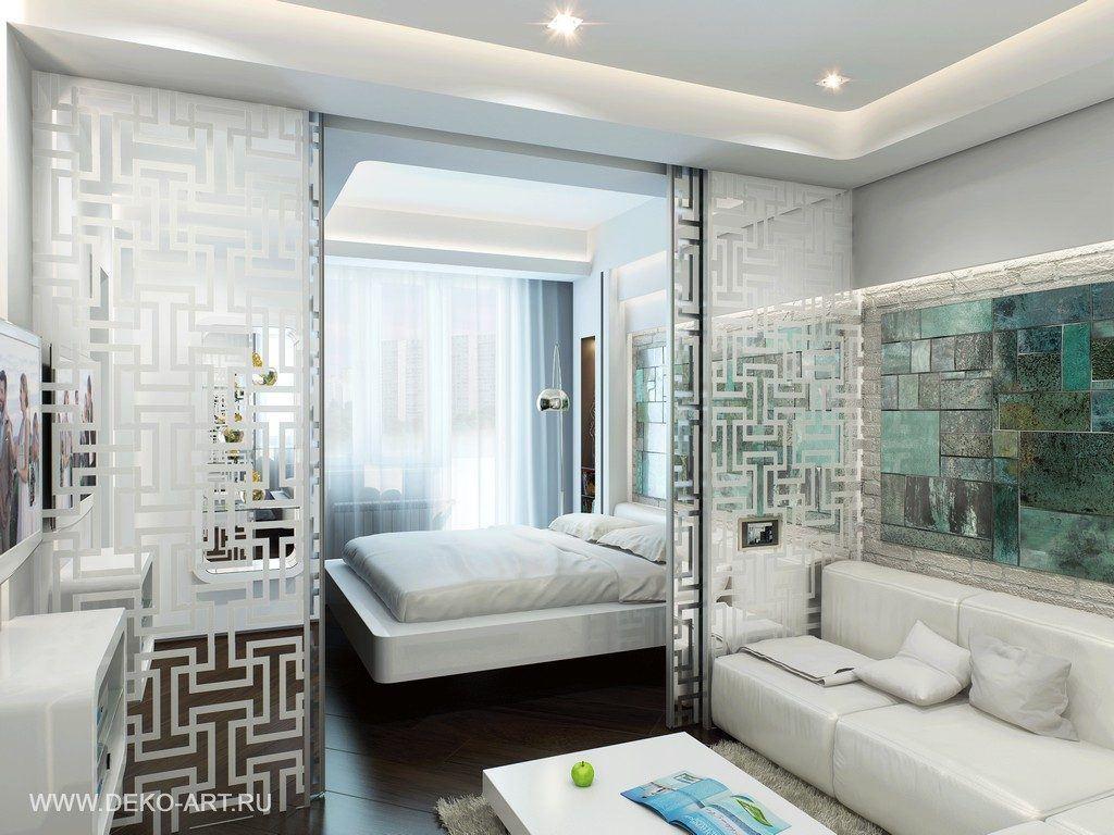 интерьер комнаты 16 квм спальня гостиная фото