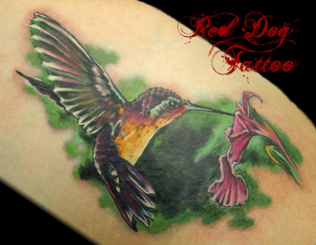 Elegante тату колибри на ноге значение