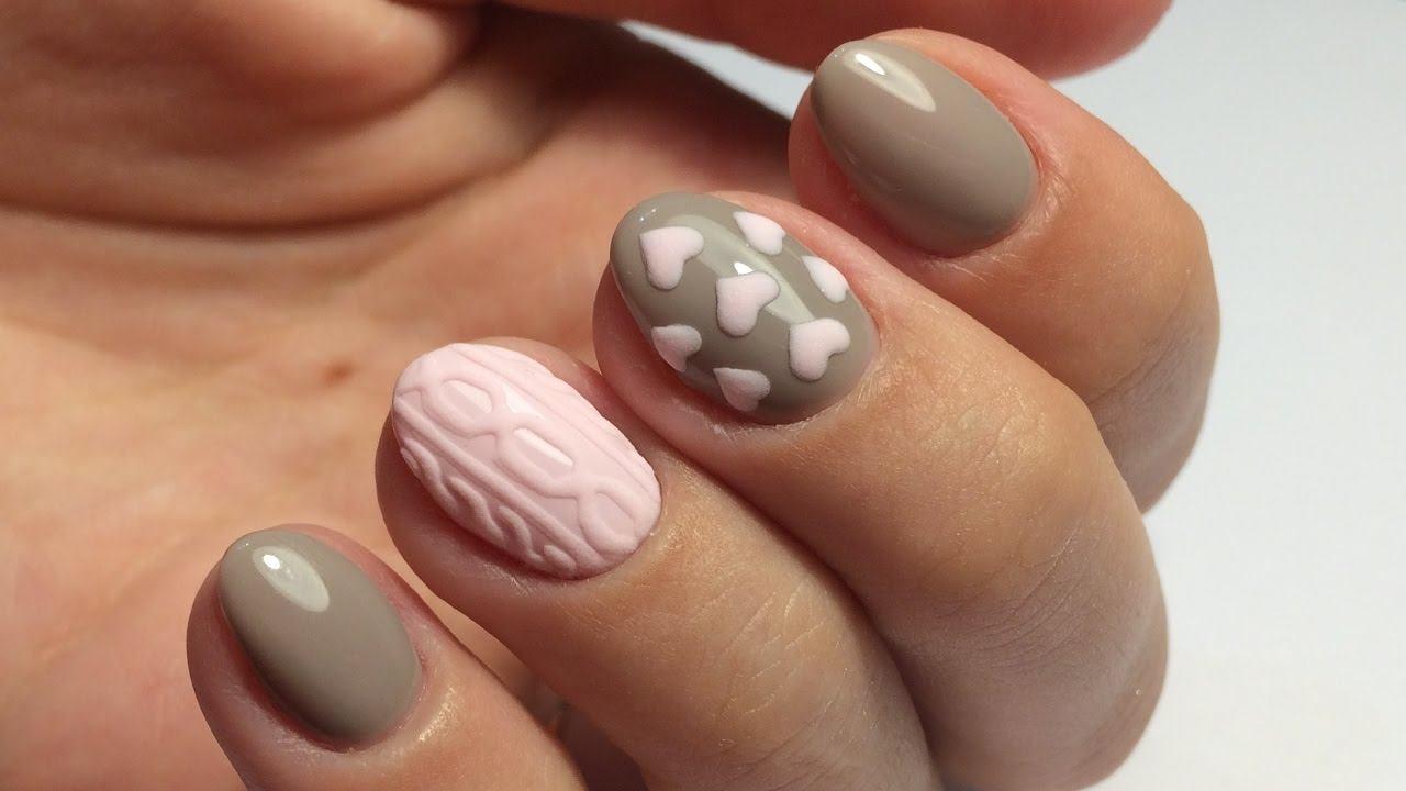 Дизайн вязка выполненная на ногтях с прорисовкой гель лаком потребует от вас определенной сноровки и качественного лака.
