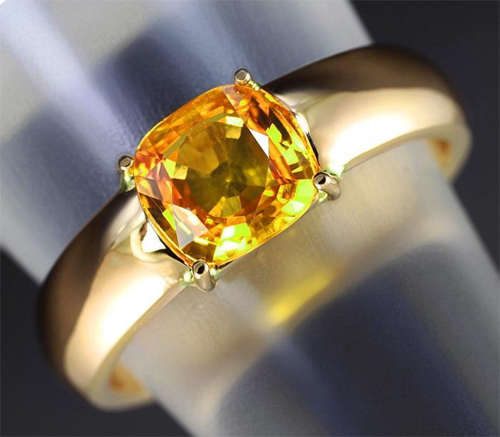 Кольцо с желтым сапфиром натуральным