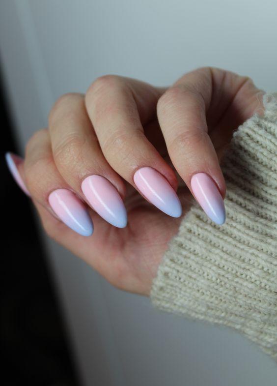 Горизонтальный градиент на ногтях