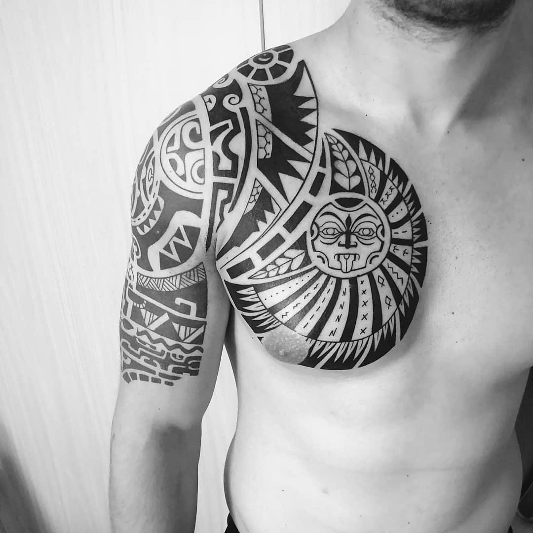 всячески тату в стиле полинезия фото листах картона карандашом