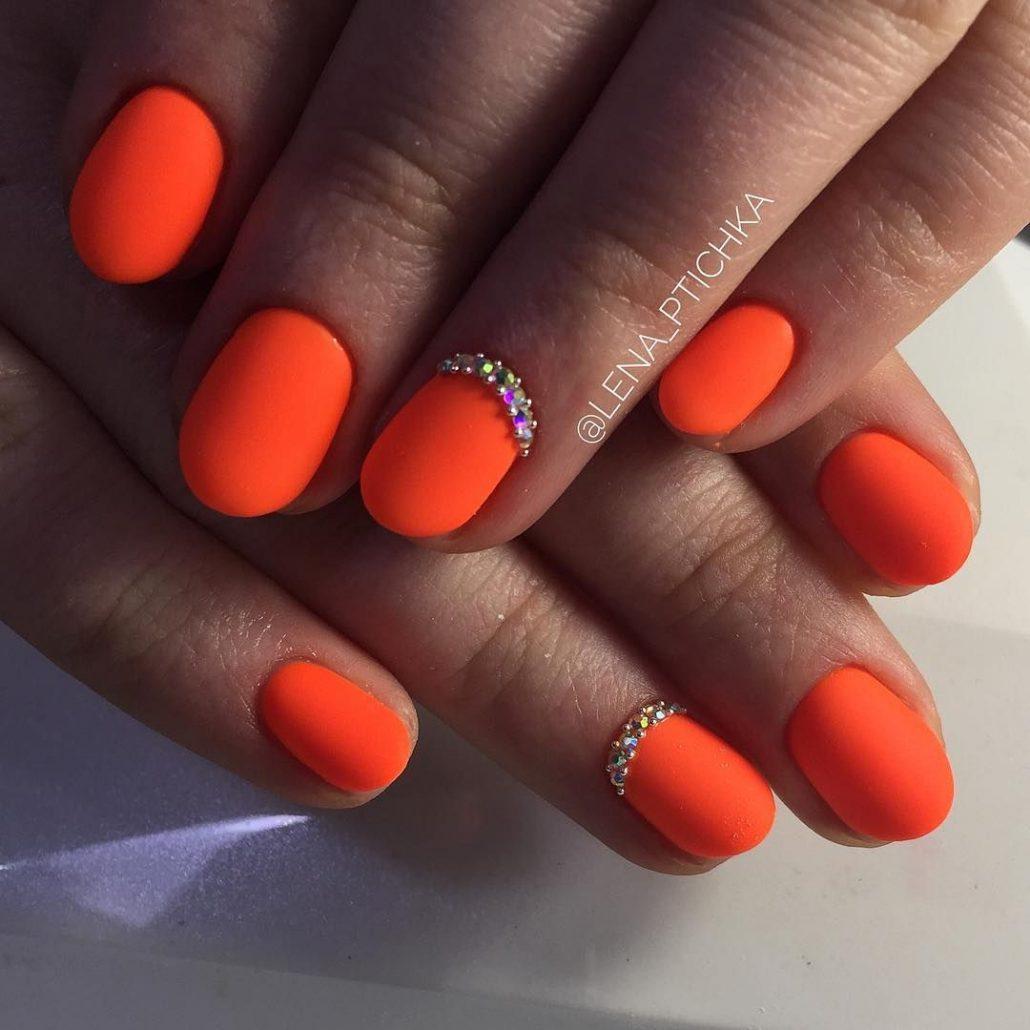 Гель лак оранжевый дизайн фото