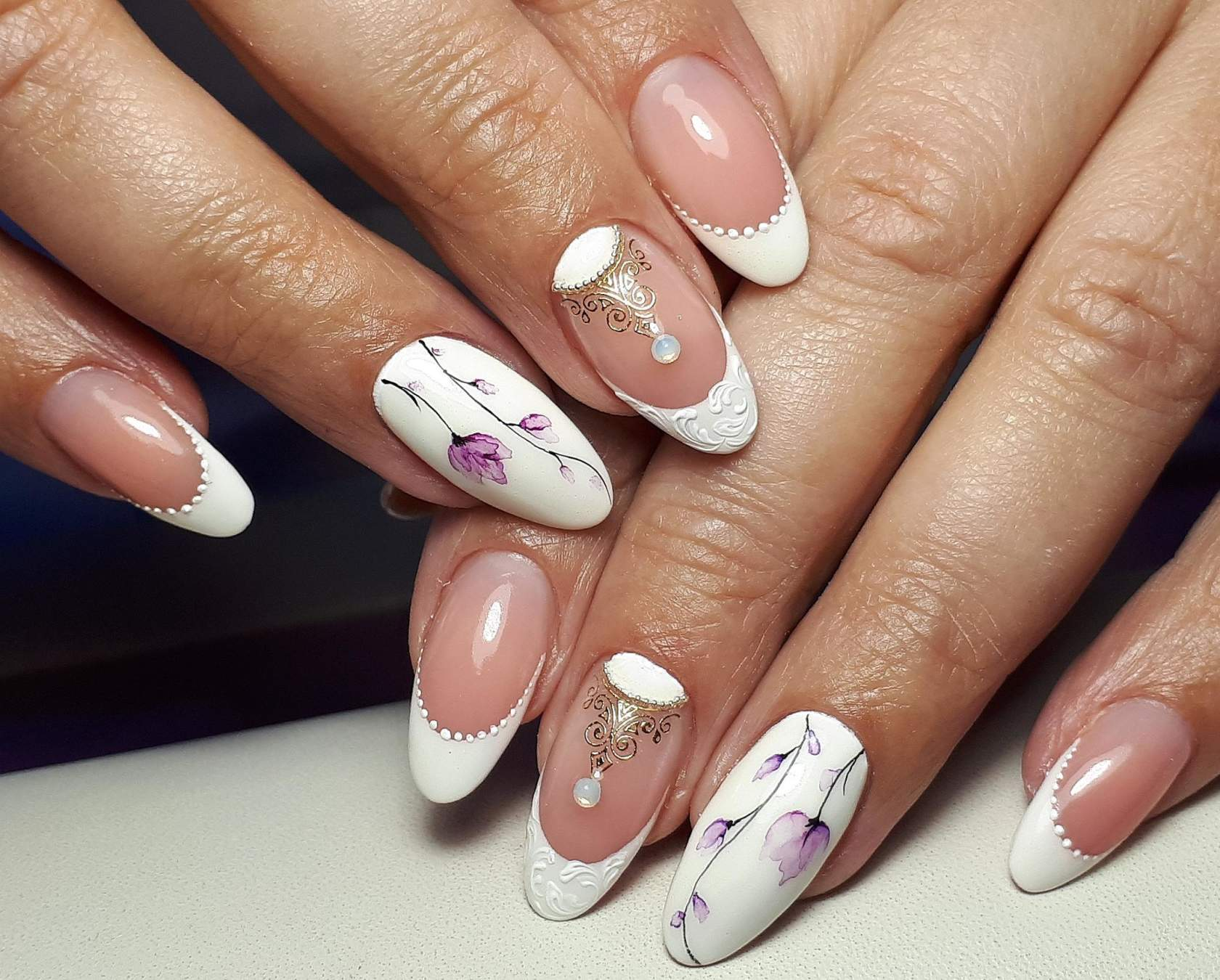 Картинки маникюра на ногтях френч с рисунком фото