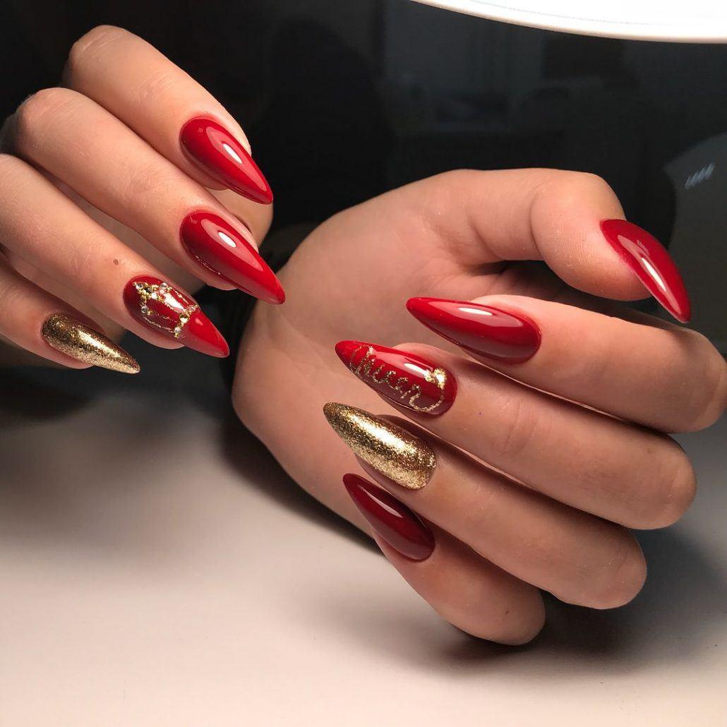 Фото ногтей новинки красивый миндальная дизайн красных