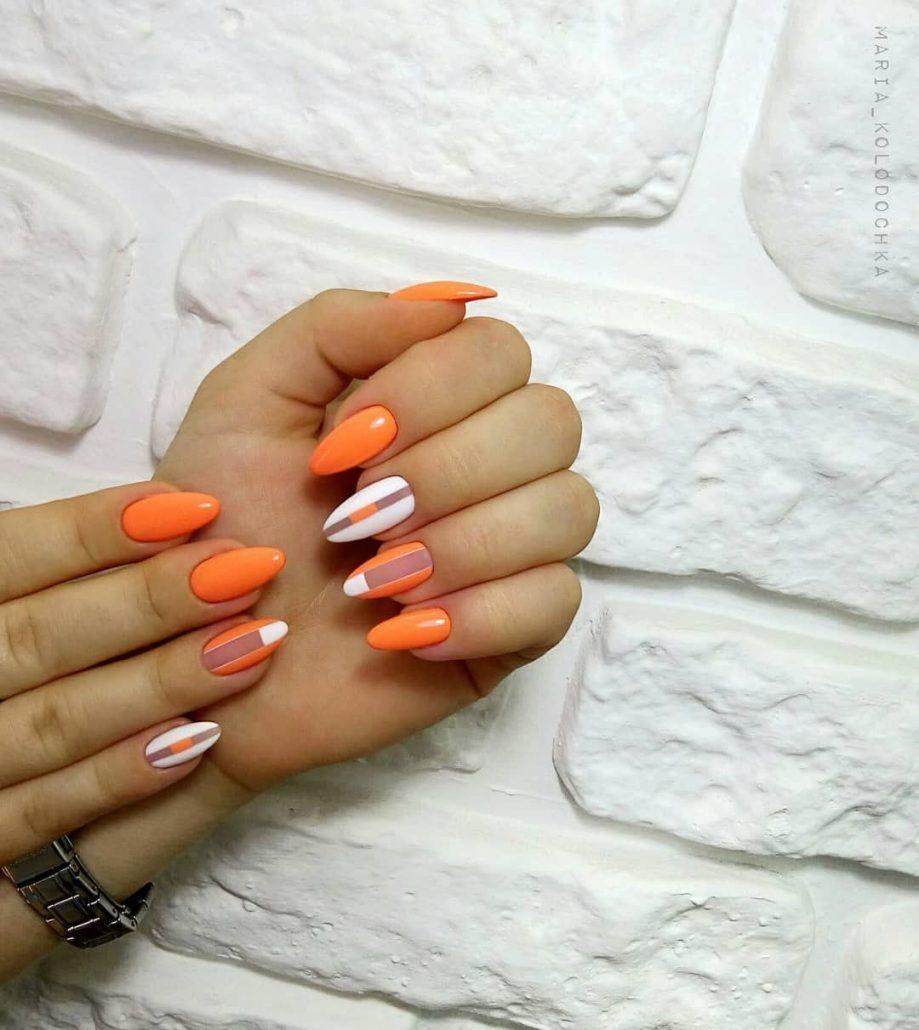 Идеи оранжевого маникюра (48 фото)